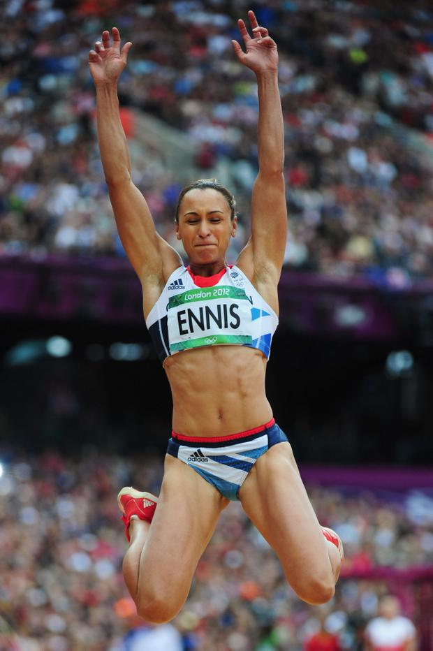 LONDON, ENGLAND - AUGUST 04: Jessica Ennis of Great Britain competes in the Women's Heptathlon Long Jump on Day 8 of the London 2012 Olympic Games at Olympic Stadium on August 4, 2012 in London, England. (Photo by Stu Forster/Getty Images)