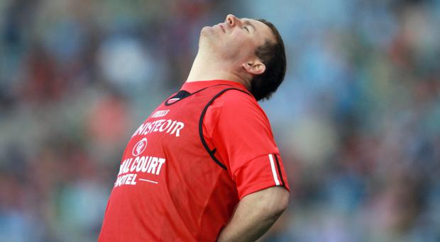 Down manager James McCartan shows his disappointment towards the end of the game against Mayo