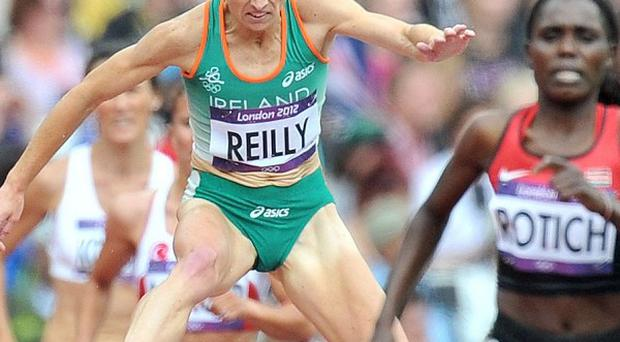 Stephanie Reilly, left, finished ninth in her 3000m heat
