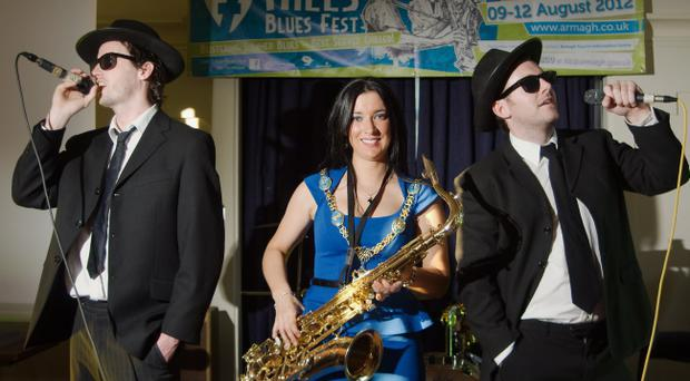 Lord Mayor of Armagh, Sharon Haughey, joins the Blues Brothers at the launch of 7 Hills Blues Festival in Armagh. pic LiamMcArdle.com