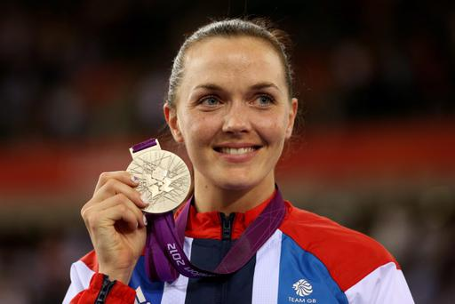 LONDON, ENGLAND - AUGUST 07: Silver medallist Victoria Pendleton of Great Britain celebrates during the medal ceremony for the Women's Sprint Track Cycling Final on Day 11 of the London 2012 Olympic Games at Velodrome on August 7, 2012 in London, England. (Photo by Bryn Lennon/Getty Images)