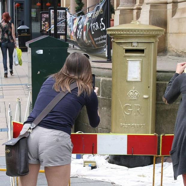 Vandals have painted graffiti on a Sheffield postbox that was turned gold to mark Jessica Ennis's Olympic triumph