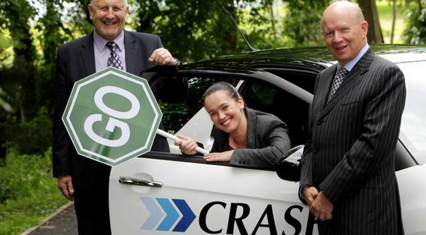 From left: John Catling, CEO of FMG is joined by Catriona Fitzpatrick from leading accident services provider, CRASH Services and the company's founder and managing director Michael McKeown