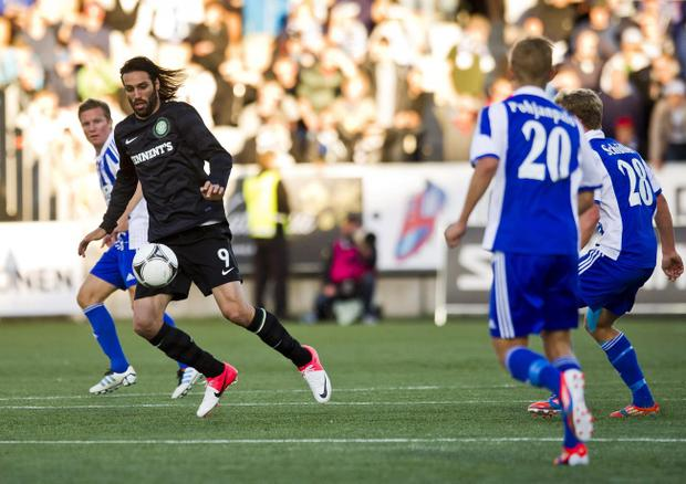 Celtic's Giorgos Samaras (left) during last night's Champions League third round qualifying soccer match against HJK Helsinki