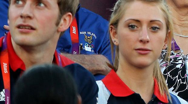 Laura Trott and Jason Kenny watched the beach volleyball bronze medal match Brazil against China at Greenwich Park together