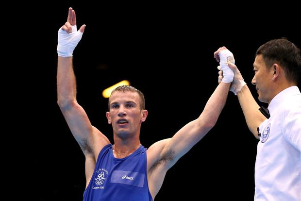 LONDON, ENGLAND - AUGUST 10: John Joe Nevin of Ireland reacts after he was declared the winner against Lazaro Alvarez Estrada of Cuba during their Men's Light Fly (49kg) Boxing Semifinal bout on Day 14 of the London 2012 Olympic Games at ExCeL on August 10, 2012 in London, England. (Photo by Scott Heavey/Getty Images)