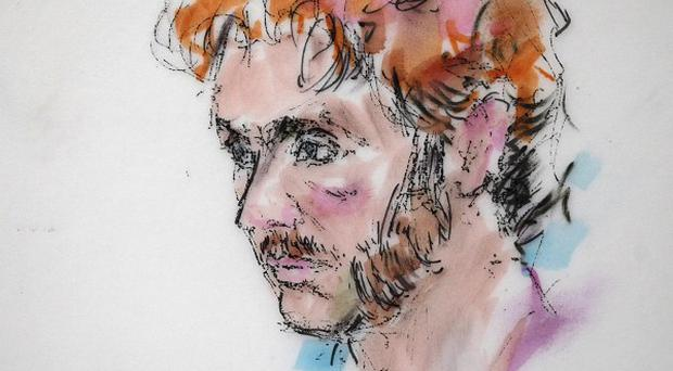 This courtroom sketch shows shooting suspect James Holmes during a motions hearing in district court (AP)