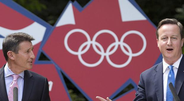David Cameron and Locog chairman Lord Sebastian Coe during their press conference in the garden of 10 Downing Street