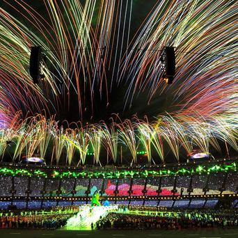 A general view as the fireworks signal the end of the London 2012 Olympics at packed Olympic Stadium in Stratford east London