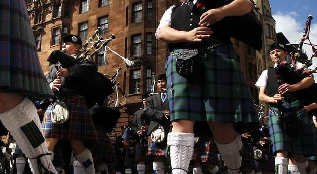 Thousands of pipers and drummers competed in the centre of Glasgow