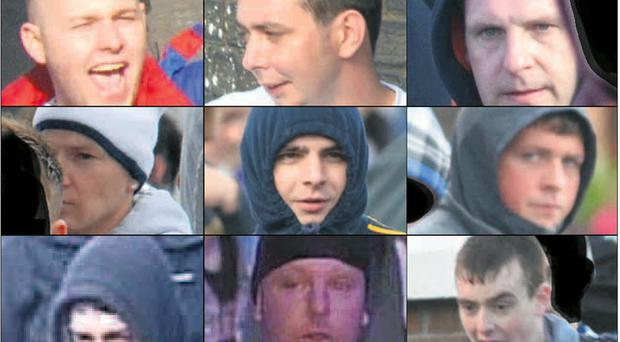 Images of the nine people police believe can help them with inquiries over disturbances in north Belfast during the Twelfth