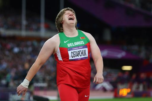 LONDON, ENGLAND - AUGUST 06: Nadzeya Ostapchuk of Belarus celebrates after winning the gold medal in the Women's Shot Put final on Day 10 of the London 2012 Olympic Games at the Olympic Stadium on August 6, 2012 in London, England. (Photo by Alexander Hassenstein/Getty Images)