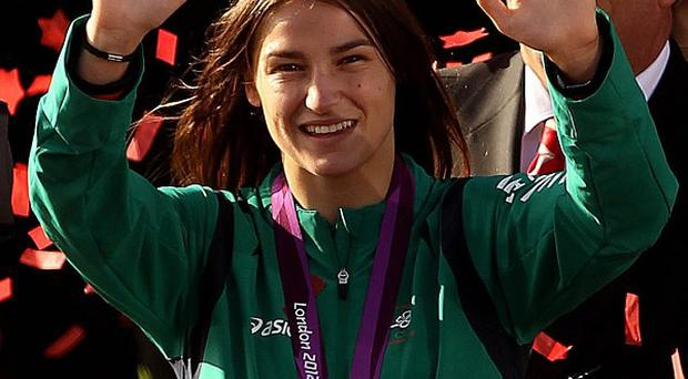 Katie Taylor showed off her gold medal in her home town of Bray