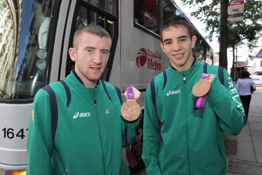 Belfast Olympic boxers Paddy Barnes and Michael Conlon are welcomed back to the city