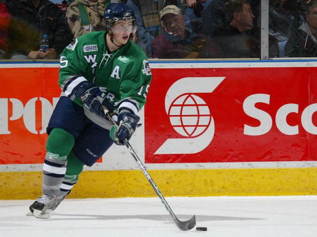 LONDON, ON - NOVEMBER 18: Andrew Fournier #15 of the Plymouth Whalers carries puck out of his zone in a game against the London Knights on November 18, 2007 at the John Labatt Centre in London, Ontario. The Knights defeated the Whalers 4-3 in a shoot-out. (Photo by Claus Andersen/Getty Images)