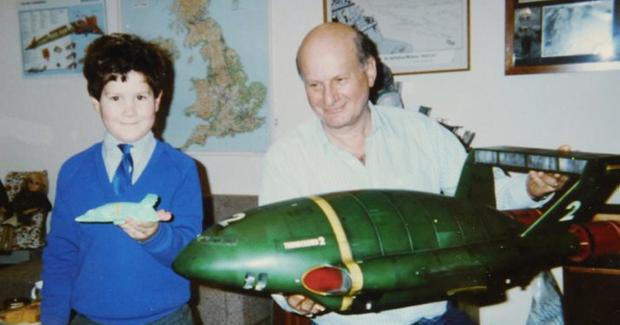 Thunderbirds creator Gerry Anderson with his son Jamie and a Thunderbird