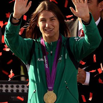 Republic of Ireland's Katie Taylor with her Olympic gold medal during her homecoming in Bray, County Wicklow