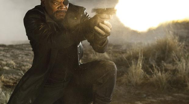 Samuel L Jackson portrays Nick Fury in a scene from Marvel's The Avengers