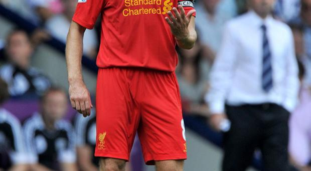 Liverpool's Steven Gerrard during the Barclays Premier League match at The Hawthorns