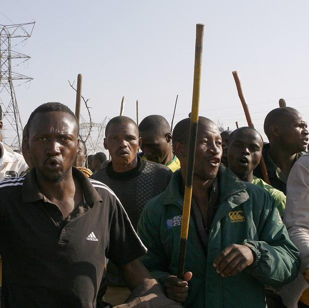 Mineworkers at the Lonmin site near Rustenburg, South Africa (AP)