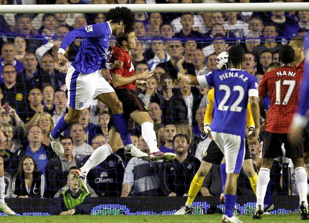 Everton's Marouane Fellaini scores the only goal of the game during the Barclays Premier League match against Manchester United at Goodison Park