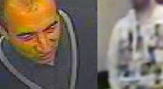 CCTV images of two men wanted for questioning after a 14-year-old boy was raped in a Manchester department store toilet