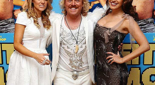 Laura Aikman, Leigh Francis and Kelly Brook arriving for the UK premiere of Keith Lemon: The Film