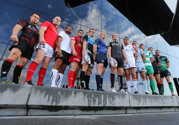 Captains from the respective RaboDirect Pro12 teams at the launch of this year's campaign