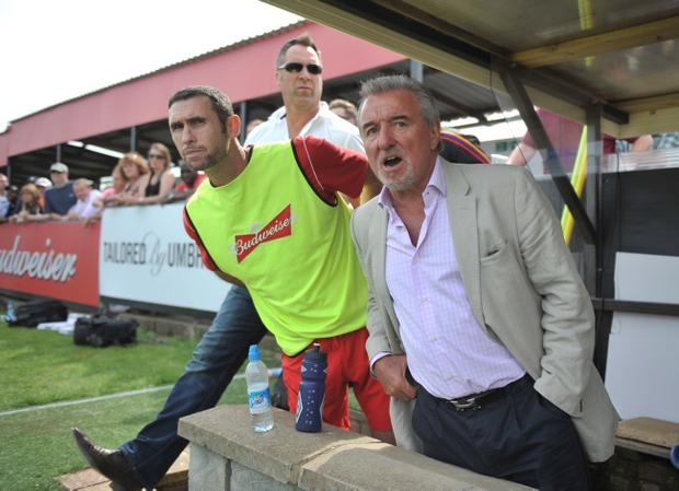 LONDON, ENGLAND - AUGUST 11: (L-R) Martin Keown, David Seaman and Terry Venables, technical advisor of Wembley FC, look on during a Budweiser FA Cup Extra Preliminary Round at Vale Farm Stadium, on August 11, 2012 in Wembley, London, England. (Photo by Daniel Hambury/Getty Images)