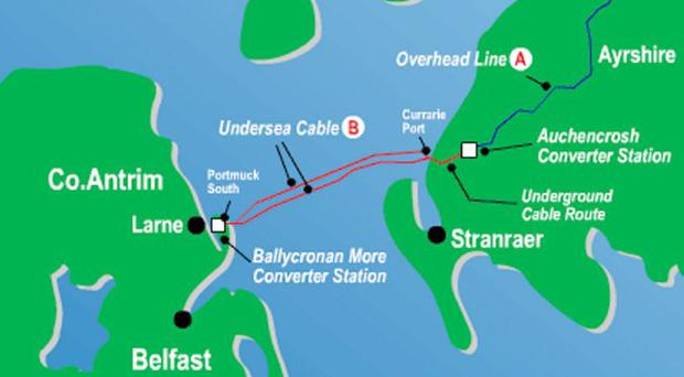 The Moyle interconnector which transfers power across the Irish Sea