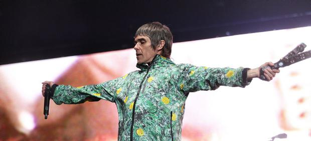 Ian Brown, lead singer of The Stone Roses, performs at Tennents Vital in Boucher Playing Fields last night