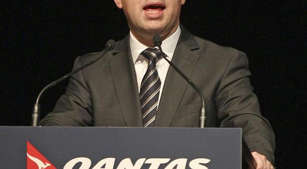Qantas chief executive officer Alan Joyce presents the airline's full-year financial results in Sydney, Australia (AP)