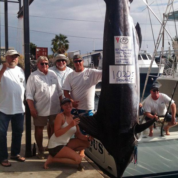 Molly Palmer poses with her crew near her catch, a 12-foot marlin that took more than four hours to get on her team's boat, in Hawaii (AP/Jody Bright)
