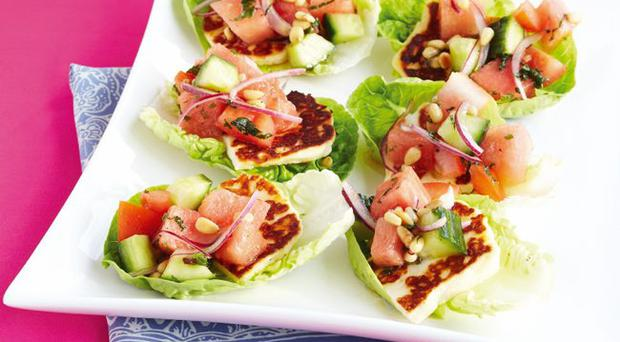 Watermelon and halloumi baby gem cups