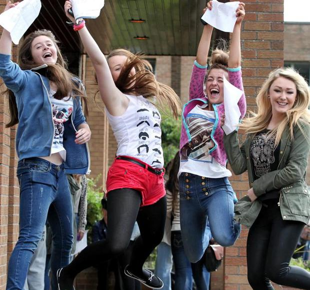 Pupils at St Louise1s Comprehensive College, Falls Road get their GCSE results.Pictured are(l-r) Niamh Adams, Clare Wallace, Marisa Muckian and Danielle Ligget