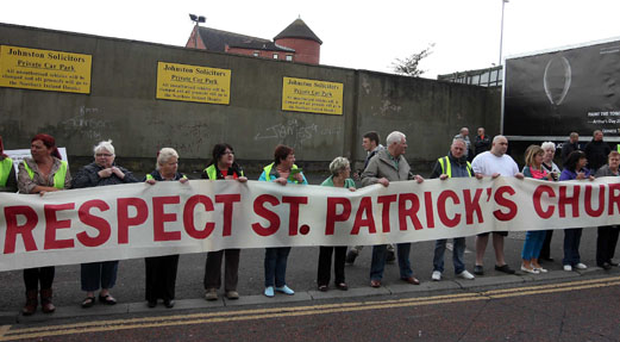 Nationalist residents holding a protest opposite St Patrick's Church