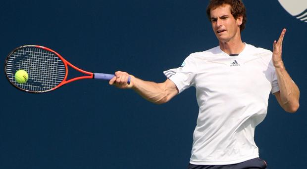 NEW YORK, NY - AUGUST 24: Andy Murray of Great Britain hits a shot while practicing prior to the start of the 2012 U.S. Open at the USTA Billie Jean King National Tennis Center on August 24, 2012 in the Flushing neighborhood, of the Queens borough of New York City. (Photo by Alex Trautwig/Getty Images)