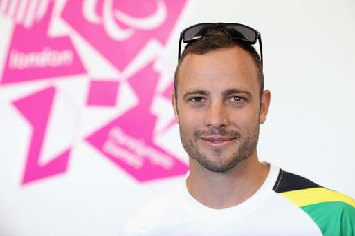 LONDON, ENGLAND - AUGUST 28: Paralympic athlete Oscar Pistorius of South Africa smiles during a press conference ahead of the London 2012 Paralympic Games on August 28, 2012 in London, England. (Photo by Chris Jackson/Getty Images)