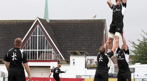 Robbie Diack claims a catch during training ahead of Ulster's PRO12 opener against Glasgow Warriors