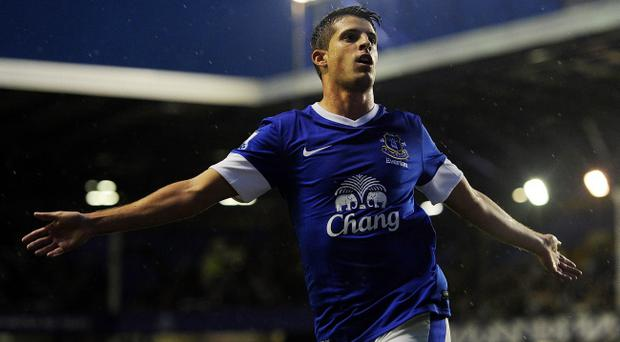 LIVERPOOL, ENGLAND - AUGUST 29: Kevin Mirallas of Everton celebrates scoring the opening goal during the Capital One Cup Second Round match between Everton and Leyton Orient at Goodison Park on August 29, 2012 in Liverpool, England. (Photo by Chris Brunskill/Getty Images)