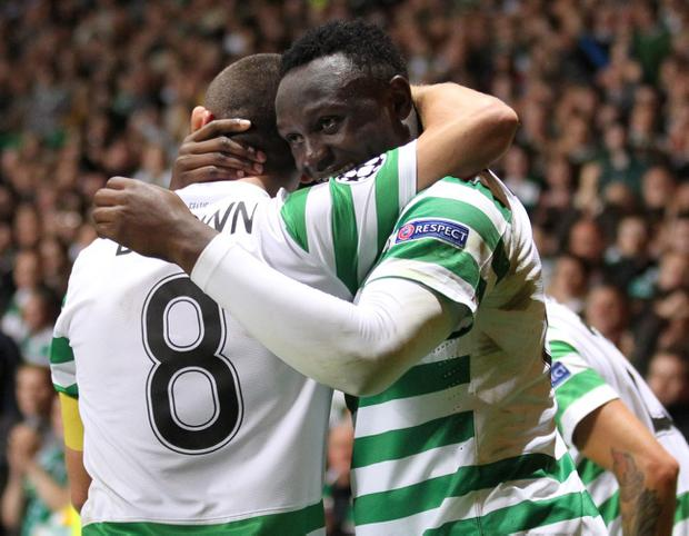 Celtic's Victor Wanyama celebrates scoring during the UEFA Champions League match at Celtic Park, Glasgow
