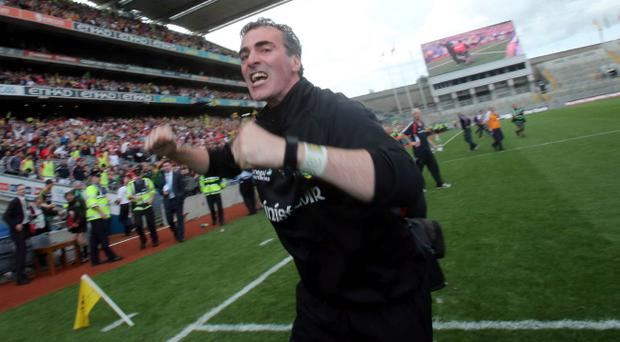 Jim McGuinness celebrates after Donegal's win over Cork in the All-Ireland semi-final