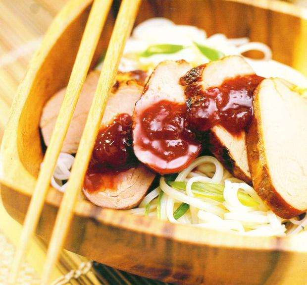 Char-sui pork fillet with plum sauce