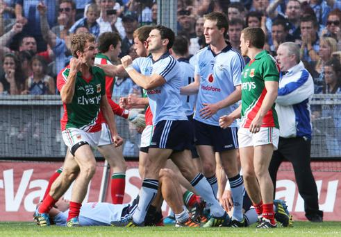 GAA Football All Ireland Senior Championship Semi-Final, Croke Park, Dublin. Mayo's Jason Gibbons celebrates in front of Bernard Brogan of Dublin after the final whistle