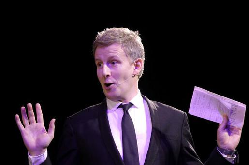 Patrick Kielty on stage during the Mary Peters Olympic anniversary gala night
