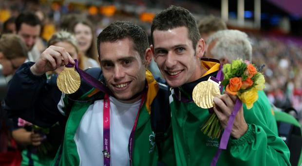 Ireland's Michael McKillop (right) and Jason Smyth with their Gold medals at the Olympic Stadium, London.