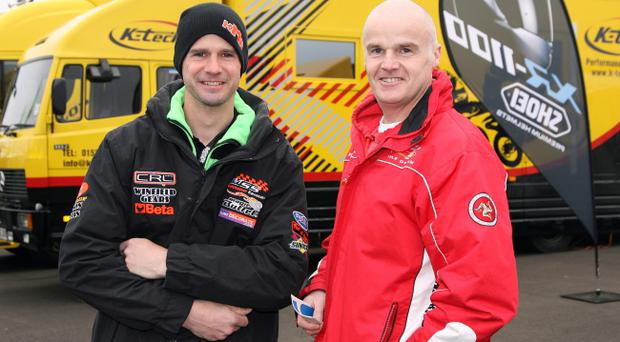 Ryan Farquhar (left) is retiring from road racing with immediate effect after his uncle Trevor Ferguson (right) died at the Manx Grand Prix last week