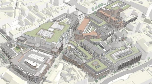 A graphic showing the aerial view of the proposed The Royal Exchange project.