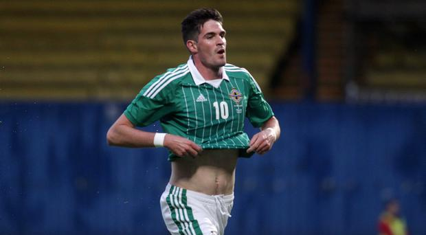 Kyle Lafferty celebrates his goal against Finland last month and now Northern Ireland needs more of the same during the World Cup qualifying campaign