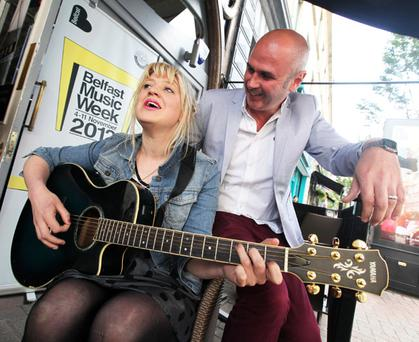 Katie and The Carnival along with presenter Joe Lindsay help launch Belfast Music Week 2012